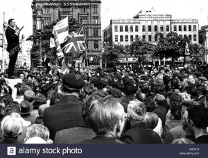 Ulster Vanguard leader William Craig addressing workers from James Mackie and Sons who marched from their Springfield Road factory to the City Hall in protest against the lack of security that allowed IRA gunmen to shoot at and injure their fellow workers leaving the factory in Belfast, Northern Ireland. May 1972